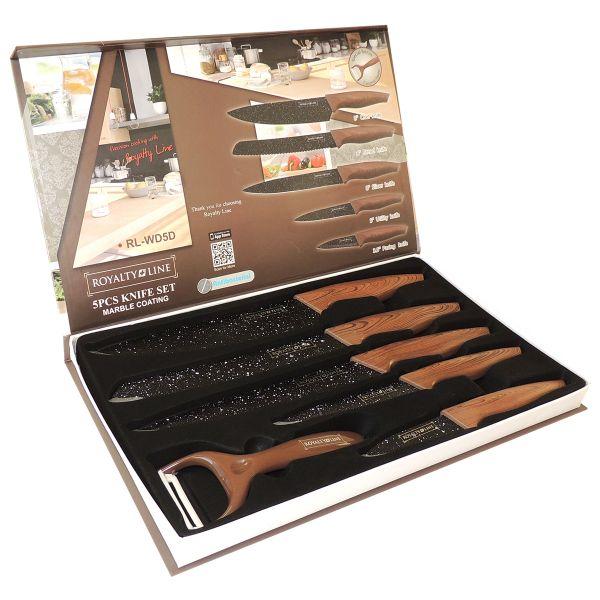 Messer Set, Holz-Dekor, schwarze Granit-Beschichtung 6-tlg.